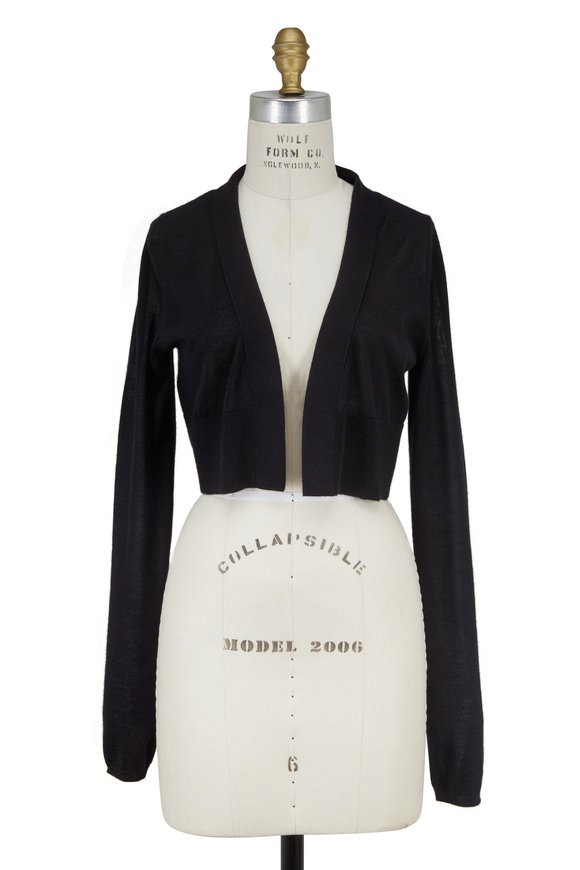 Derek Lam Black Cashmere & Silk Cropped Knit Cardigan