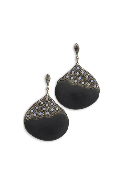 Loren Jewels - Gold & Sterling Silver Onyx Opal Diamond Earrings