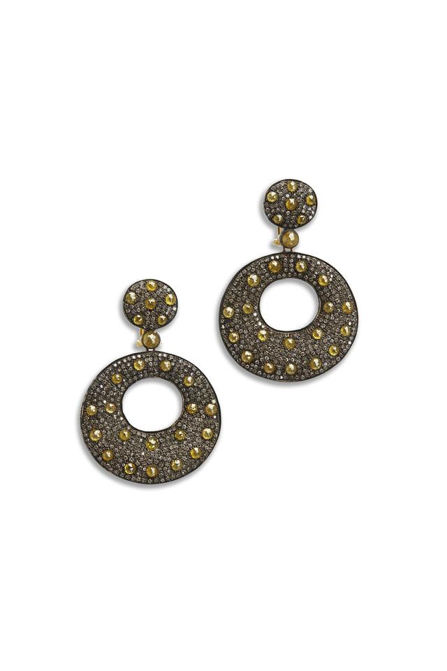 Gold & Silver Pavé-Set Yellow Diamond Earrings