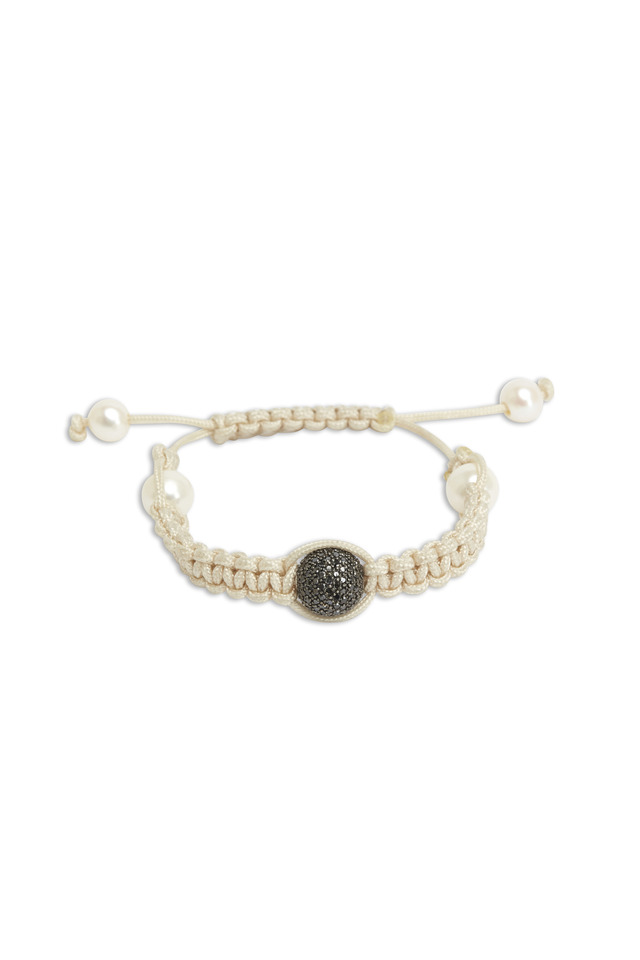 Gold Black Diamond Pearl Macrame Bracelet