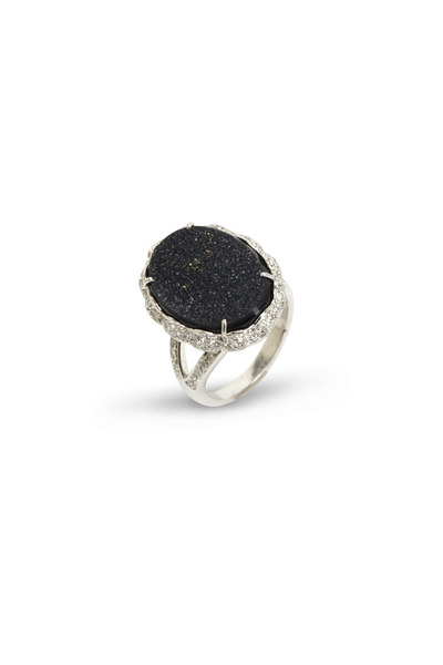 Loren Jewels - Gold Druzy Chalcedony Diamond Ring