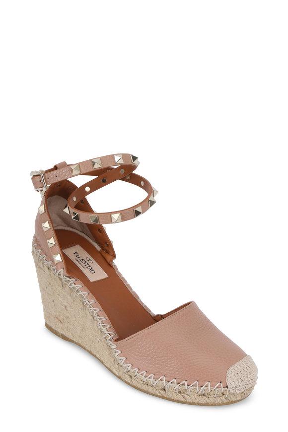 Valentino Rockstud Nude Espadrille Wedge Sandal, 75mm