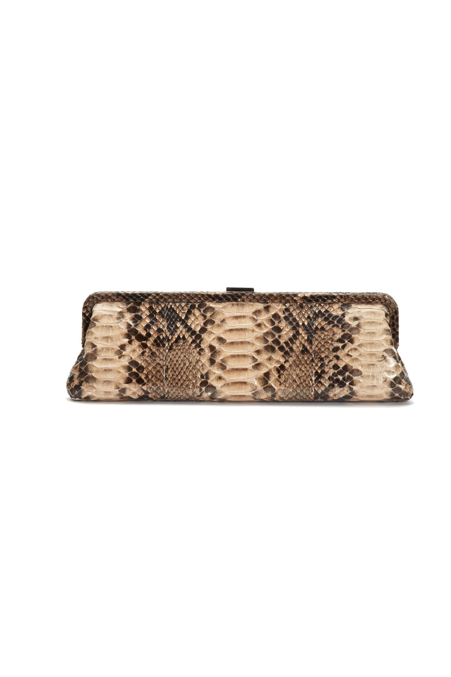 Nude Python Long Frame Clutch
