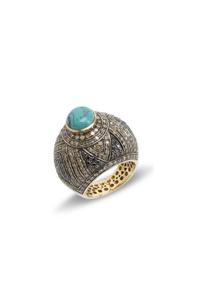 Gold & Silver Turquoise Pavé-Set Diamond Ring
