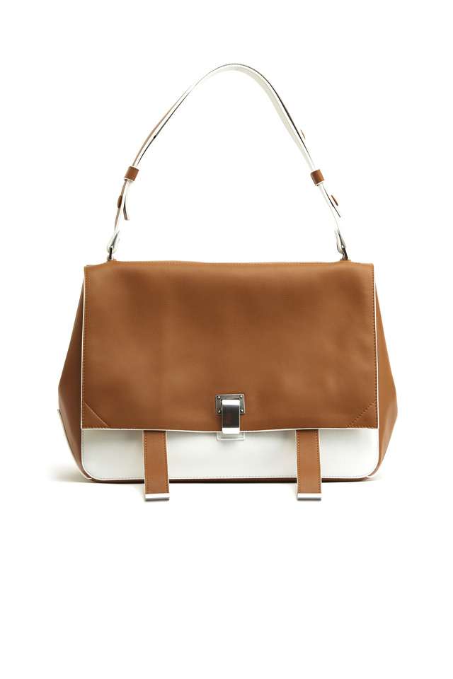 PS Courier Caramel & White Leather Shoulder Bag