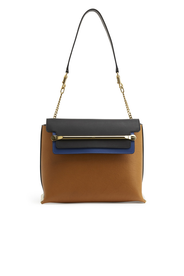 Clare Tan & Black Leather Medium Shoulder Bag
