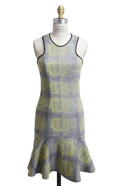 Yigal Azrouël - Yellow & Grey Python Dress