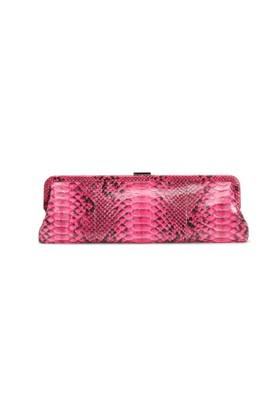 Monroe Pink Python Clutch