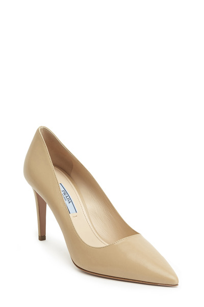 Prada - Sand Leather Pointed Toe Pump, 85mm