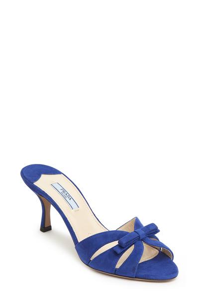 Prada - Blue Suede Bow Butterfly Slide Sandal, 65mm