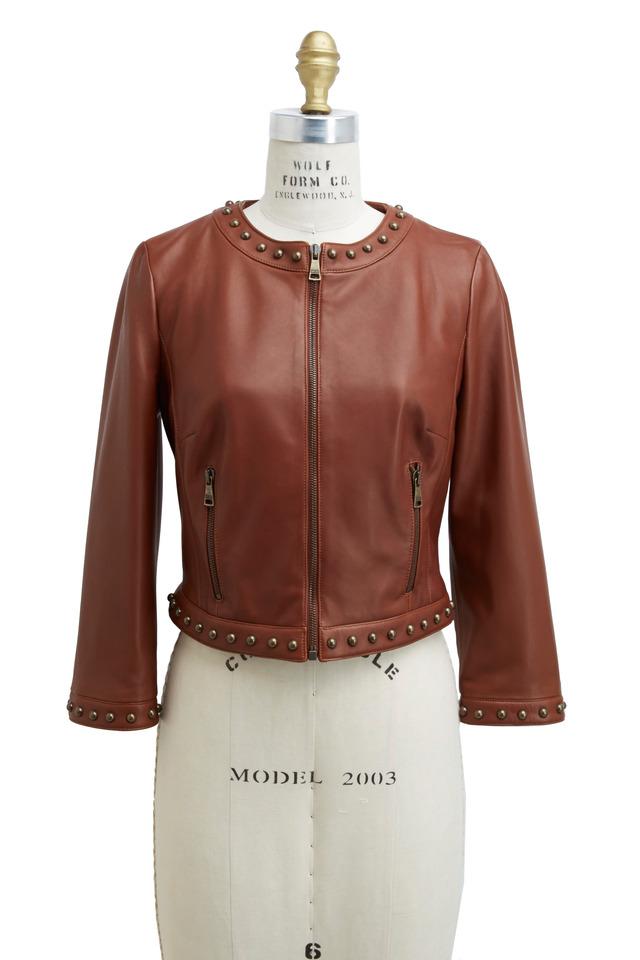 Saddle Leather Stud Detail Jacket