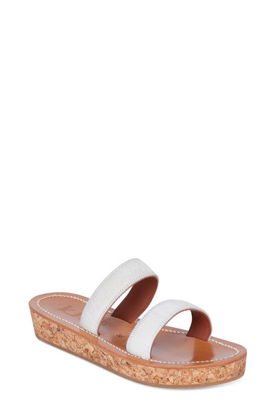 9e318008332 K. Jacques - Cluny White Pony Cork Platform Slide