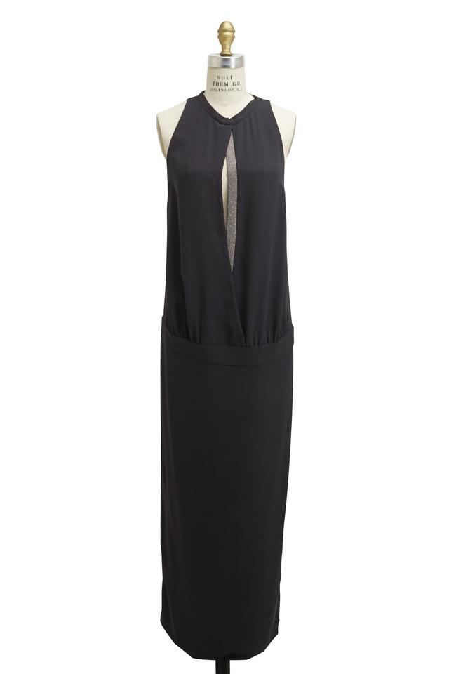 Volcano Silk & Crepe Monili Open Front Gown
