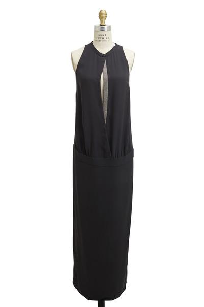 Brunello Cucinelli - Volcano Silk & Crepe Monili Open Front Gown