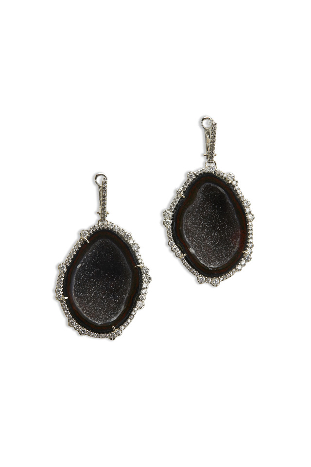 18K White Gold Black Geode Earrings