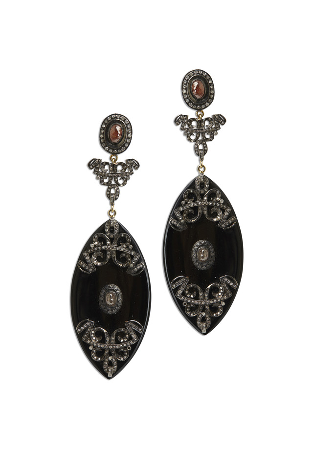 Gold & Silver Black Onyx Marquise Diamond Earrings