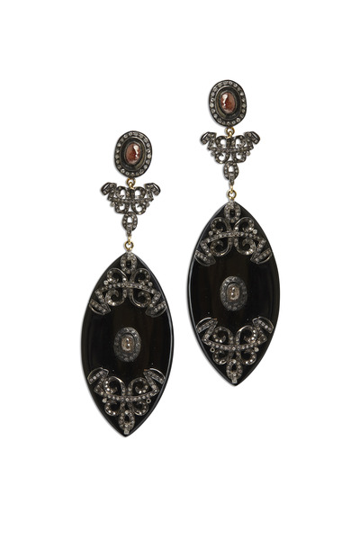 Loren Jewels - Gold & Silver Black Onyx Marquise Diamond Earrings