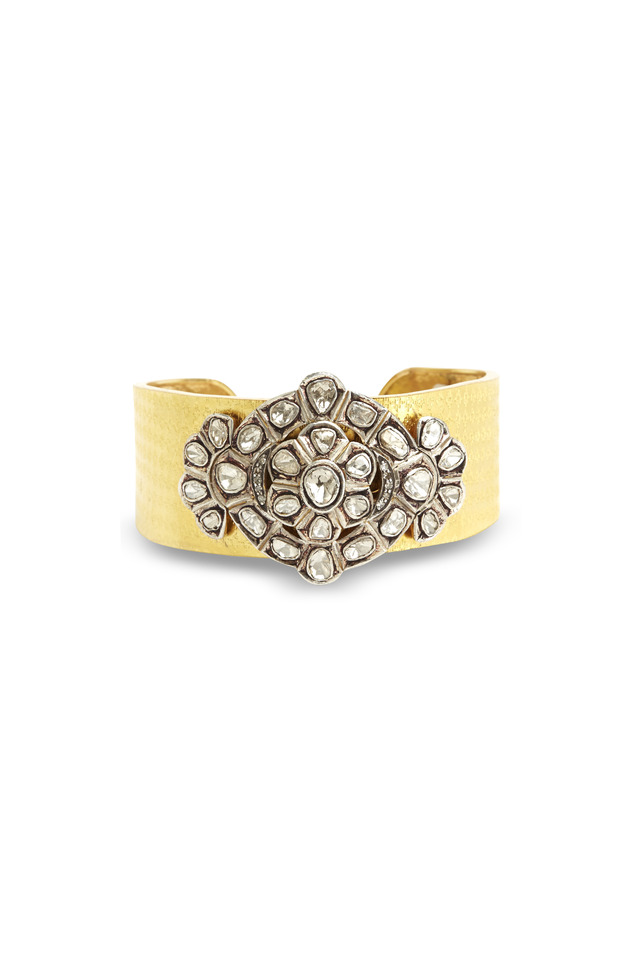 Gold & Sterling Silver Diamond Cuff Bracelet