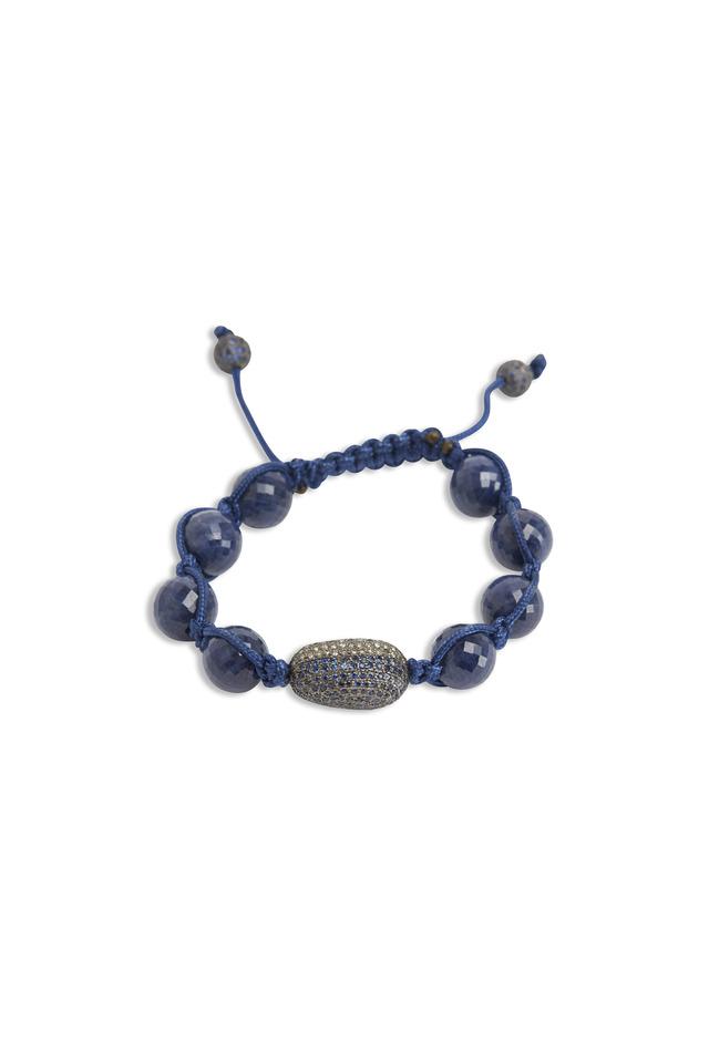 Silver Blue Sapphire Macrame Diamond Bracelet