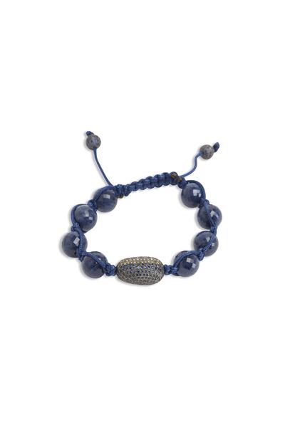 Loren Jewels - Silver Blue Sapphire Macrame Diamond Bracelet