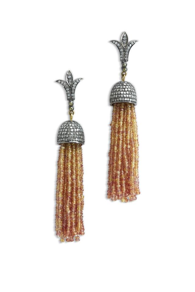Gold Orange Sapphire Diamond Tassel Earrings
