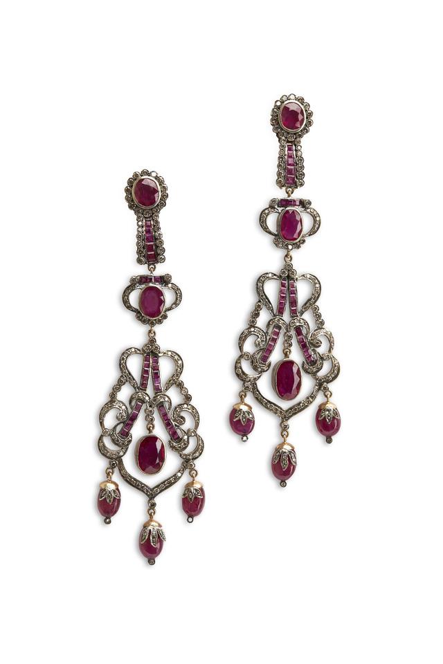 Gold & Silver Ruby Diamond Dangle Earrings