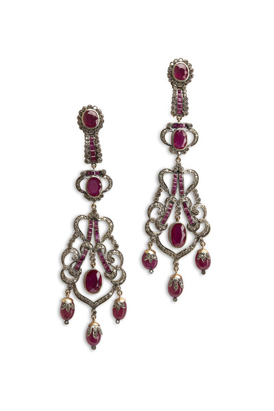 Loren Jewels - Gold & Silver Ruby Diamond Dangle Earrings