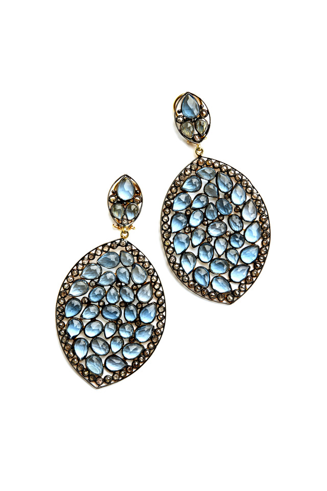 Gold & Sterling Silver Blue Topaz Diamond Earrings