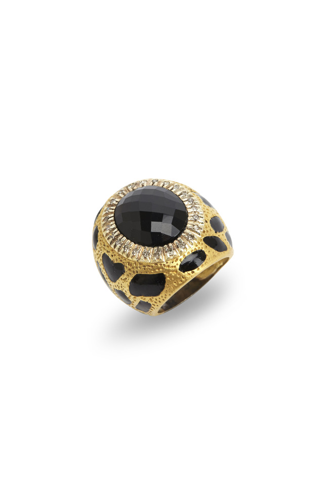 Gold & Sterling Silver Black Onyx Diamond Ring