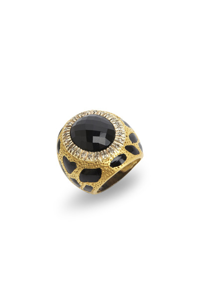 Loren Jewels - Gold & Sterling Silver Black Onyx Diamond Ring
