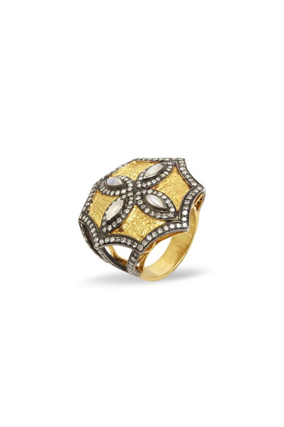 Loren Jewels Gold & Sterling Silver Moonstone Diamond Ring