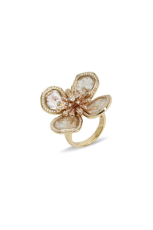 Yellow & Pink Gold Diamond Slice Flower Ring