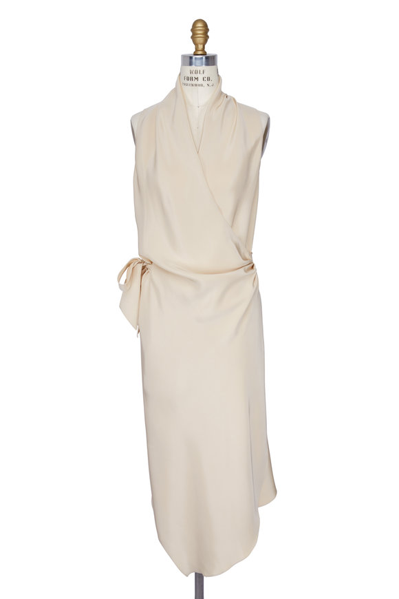 Peter Cohen Sand Sleeveless Silk Wrap Dress