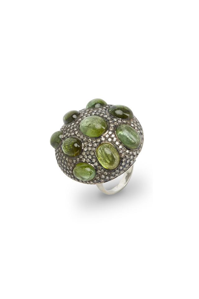 Gold & Silver Green Tourmaline Bubble Diamond Ring