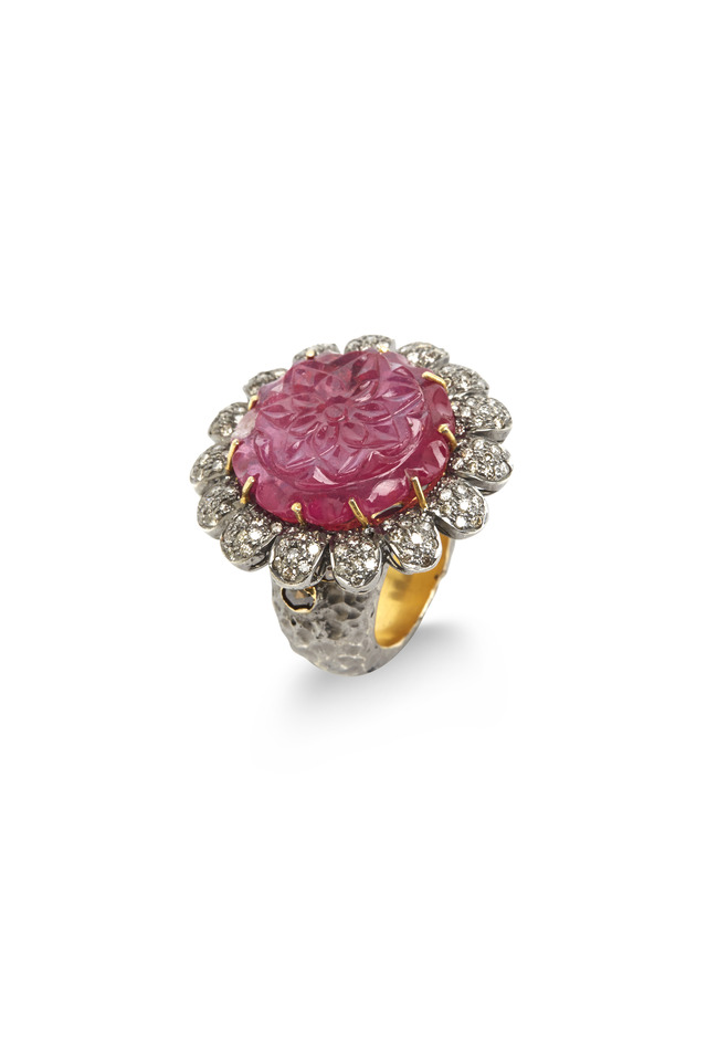 Gold & Sterling Silver Carved Ruby Diamond Ring
