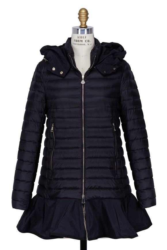Moncler Daurade Black Peplum Puffer Jacket