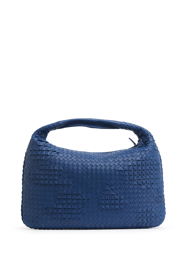 Veneta Blue Intrecciato Leather Large Hobo Bag