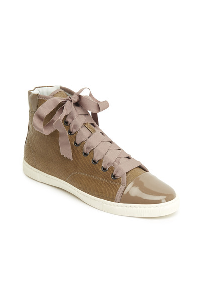 Lanvin - Mocha Watersnake High Top Sneakers