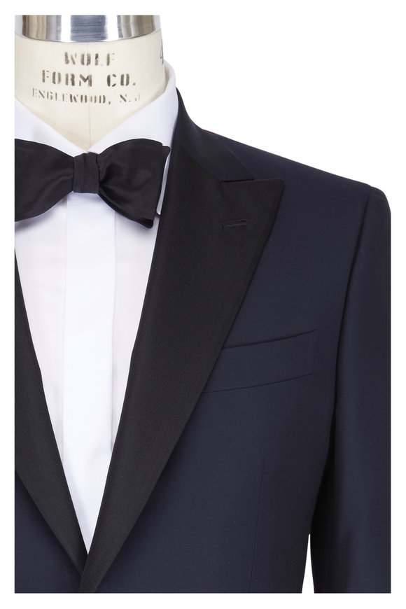 Isaia Gregory Navy Blue Wool Contrast Lapel Tuxedo