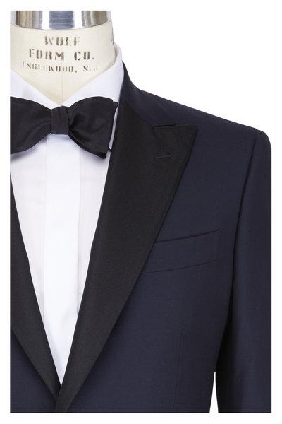 Isaia - Gregory Navy Blue Wool Contrast Lapel Tuxedo
