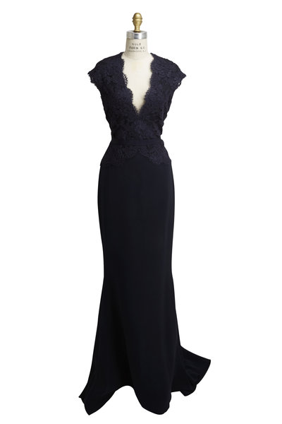 Reem Acra - Navy Blue Mixed Media Lace Gown