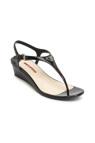 Prada - Black Patent Leather Thong Wedge Sandals
