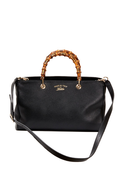Gucci - Bamboo Top Handle Black Leather Convertible Tote