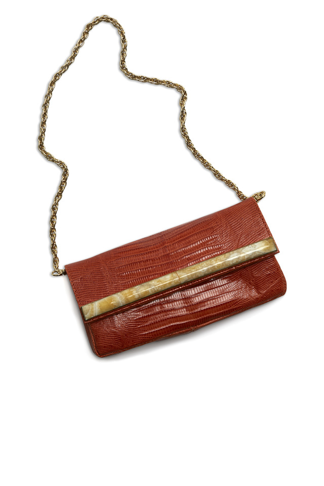 April Orange Leather Clutch