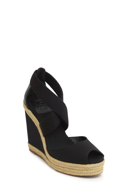 Tory Burch - Natanya Black Linen Espadrilles Wedge, 120mm