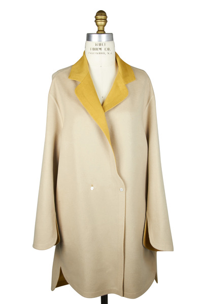 Agnona - Cream & Yellow Cashmere Coat