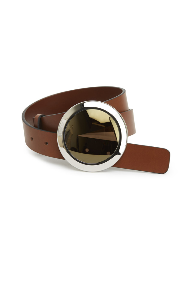 Brown Leather Glass Buckle Belt