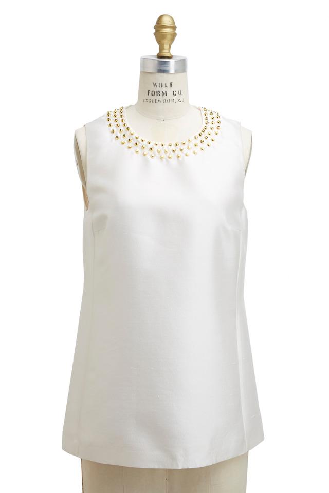 White Wool & Silk Blouse