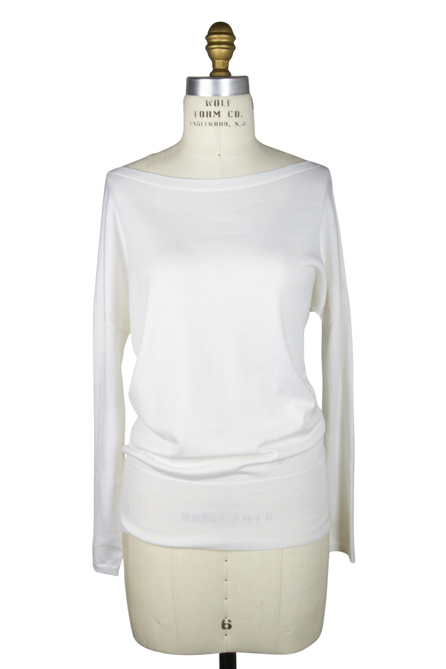 White Cotton & Silk Sweater