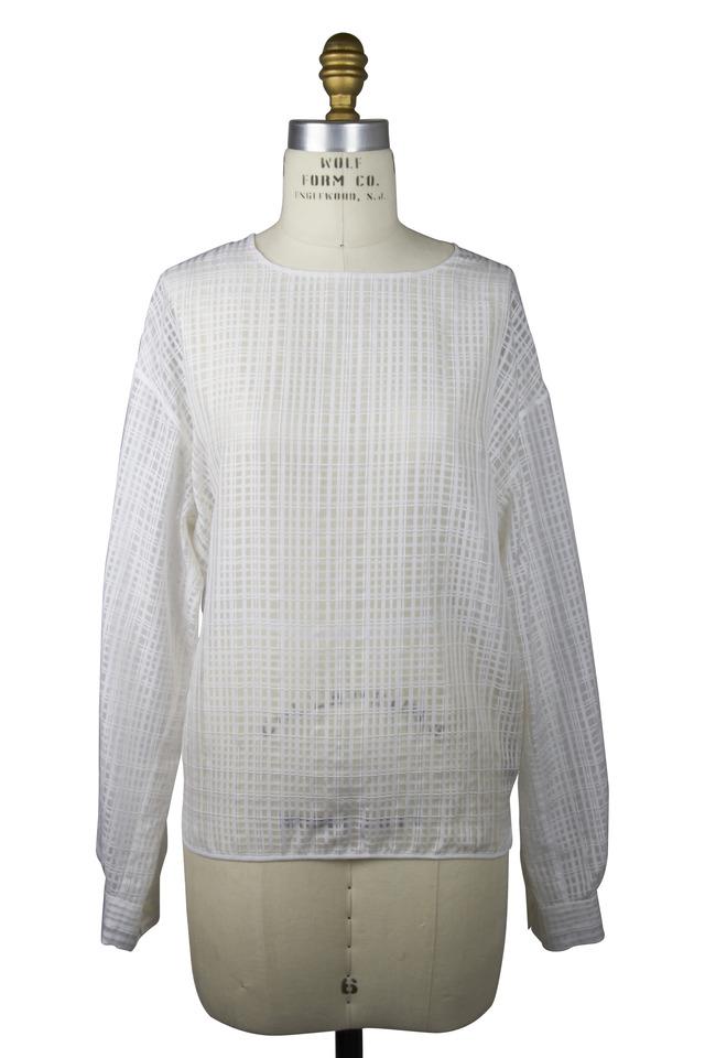 White Silk & Cotton Blouse